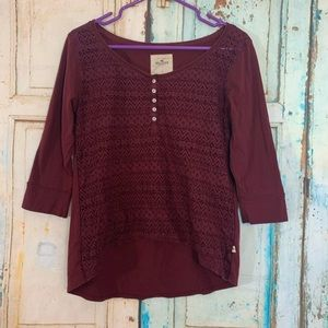 Hollister lacy front 3/4 sleeve tee shirt
